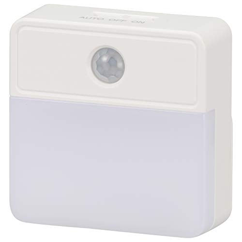 OHM LEDセンサーナイトライト 明暗+人感 屋内用 40lm 電池式 NIT-BLA6JSQ-W