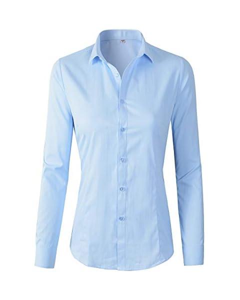 Women's Basic Long Sleeve Button Down Shirt Work Wear (XS, 680 Blue)