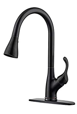 APPASO Kitchen Faucet with Pull Down Sprayer Oil Rubbed Bronze, Single Handle High Arc Pull Out Spray Head Kitchen Sink Faucet with Deck Plate