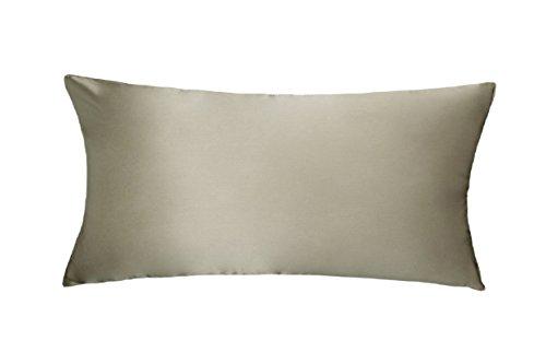LULUSILK Kissenbezug, 100% reine Seide, 16Momme, mit verdecktem Reißverschluss, schont Haut und Haare, 1Stück 40 x 80 cm Gris Topo