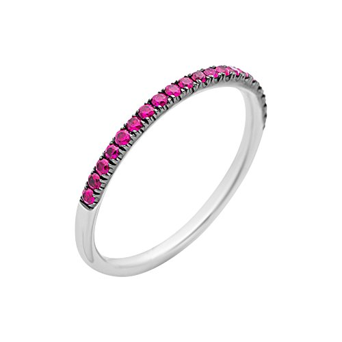 Miore Women's Ring 9–Carat 375 White Gold Ruby - Size M
