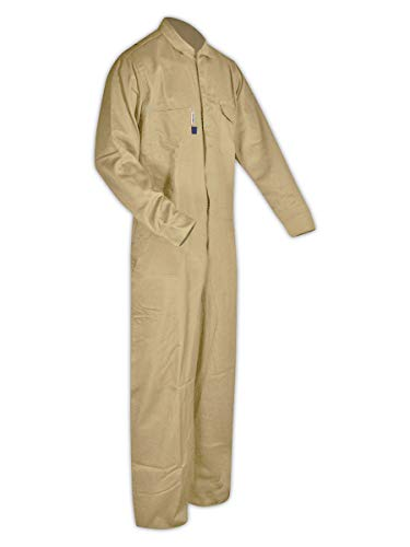 Magid Glove & Safety Dual Hazard 7 oz. FR 100% Cotton Coveralls, Arc Flash & Flash Fire Protection, Khaki, Large (1 Coverall) (CCK70DHL)