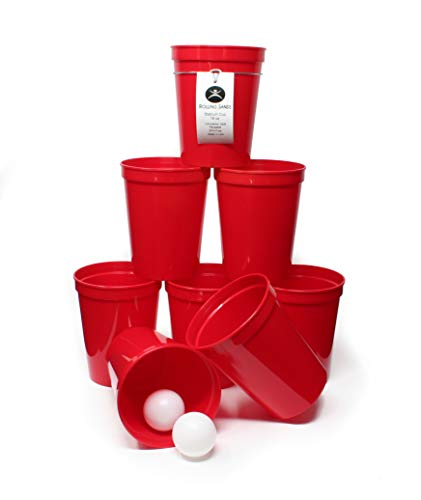 Rolling Sands 16 Ounce Reusable Plastic Stadium Cups Beer Pong, 8 Pack, Made in USA, BPA-Free Dishwasher Safe Plastic Tumblers