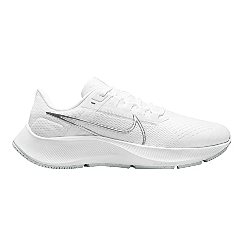 Nike Air Zoom Pegasus 38 Women's Running Shoes in White/Pure Platinum/Wolf Grey/Metallic Size 8.5