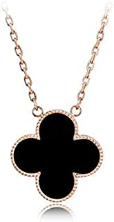 Black Four-leaf Clover Silver Necklace, Rose-Gold Plated