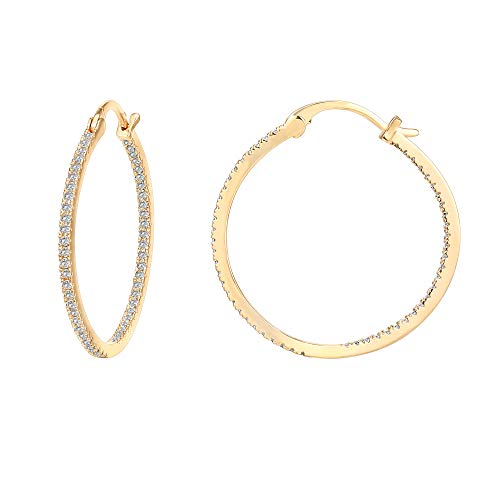 PAVOI 14K Gold Plated 925 Sterling Silver Post Cubic Zirconia Hoop Earrings | Large Yellow Gold Hoops