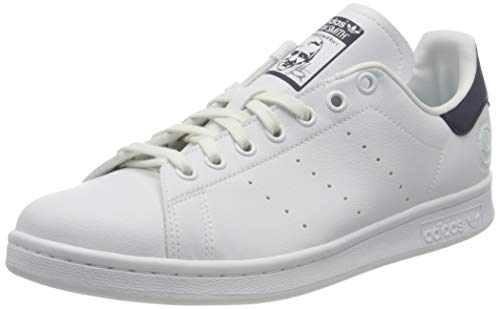 adidas Originals Mens Stan Smith Vegan Sneaker, Footwear White/Collegiate Navy/Green,43 1/3 EU