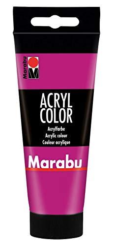 Marabu 12010050014 - Acryl Color magenta 100 ml, cremige Acrylfarbe auf Wasserbasis, schnell trocknend, lichtecht, wasserfest, zum Auftragen mit Pinsel und Schwamm auf Leinwand, Papier und Holz