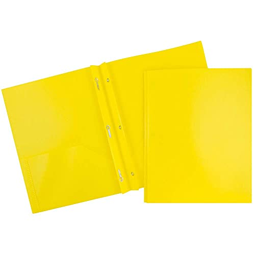 JAM PAPER Plastic 2 Pocket School POP Folders with Metal Prongs Fastener Clasps - Yellow - 6/Pack