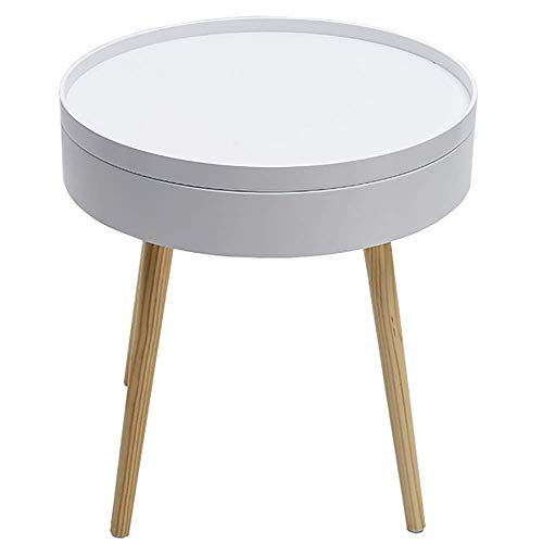 Storage Side Table Wooden Round Bedside Snacks Tea Book Tray Tables Creative Tall Coffee Table Modern Compact Nightstand for Small Spaces(Color:Grey)