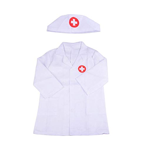 Toyvian Kinder Arzt Kostüm Langarm Laborkittel Arzt Cosplay Mantel mit Mütze Kinder Arzt Rollenspiel (Weiß)