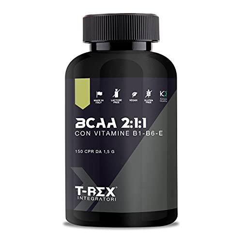 T-Rex Integratori BCAA 2:1:1 150 compresse da 1500mg KYOWA QUALITY con Vitamine B1-B6-E Integratore alimentare di Aminoacidi Ramificati in rapporto 2 1 1 di L-leucina, L-Isoleucina, L-Valina