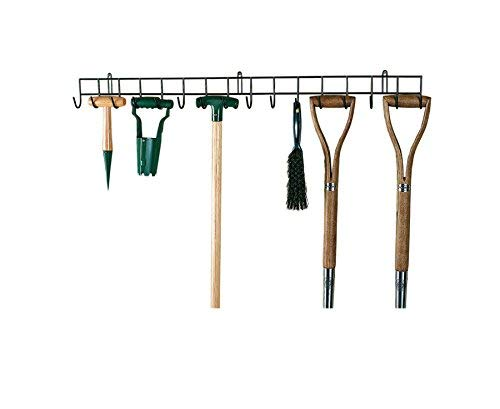 Burwells Bergman Extra-Long Tool Rack - Wall Mounted Garden Tool Holder- With 16 Hooks, Extra-Long Hanging Rack for your Shed or Garage, Wall Hanging Hook, Storage Metal Organiser (100cm long)