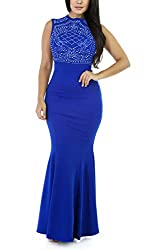 Blue Long Fitted Beading Sleeveless Mermaid Gown