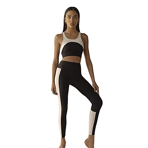 Noa Top Sostén Deportivo Yoga Fitness Correr Gimnasionegro Y Blanco L
