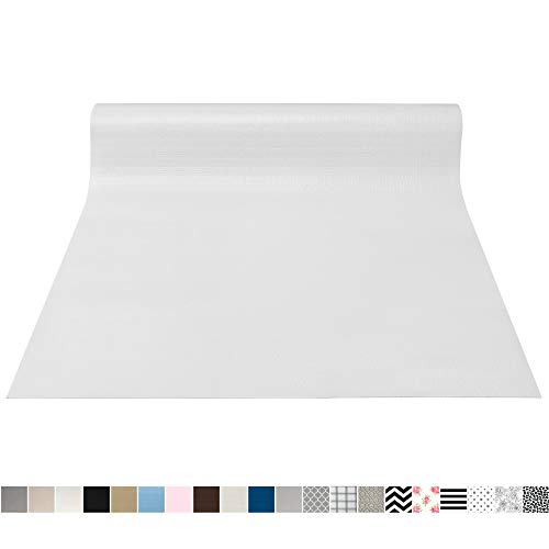 Gorilla Grip Original Smooth Top Slip-Resistant Drawer and Shelf Liner, Non Adhesive Roll, 17.5 Inch x 10 FT, Durable Kitchen Cabinet Shelves Liners for Kitchens Drawers and Desks, White