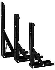 Vouwplank Beugels - Heavy Duty Wandmontage Metalen Driehoek Tafelbank Beugel, Max Load 75kg Zwart 1 PACK