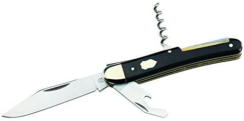 Hartkopf-Taschenmesser, Stahl 1.4410, Kombiwerkzeug, Korkenzieher, Ebenholz-Griffschalen, Neusilberbacken