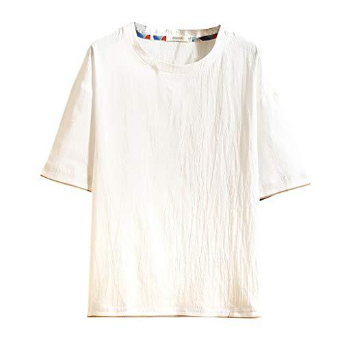 Yowablo Herren Hemd Kurzarm Slim Fit Sommer Baumwolle Polo Style Lässige Mode O-Ausschnitt Baumwolle Leinen Kurzarm Fake Zwei T-Shirt Tops (4XL,4Weiß)