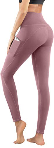PHISOCKAT High Waist Yoga Pants with Pockets, Tummy Control 4 Way Stretch Women Yoga Leggings with 3 Pockets Pink, Medium