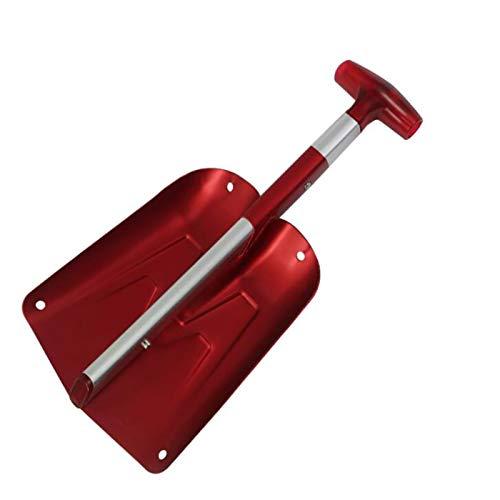 SHIKAN Pala de Nieve, Pala de Nieve portátil de la Utilidad del Deporte del Aluminio, para el quitanieves de Invierno para el Coche, Actividades al Aire Libre del jardín de campamento22.5X65CM Red