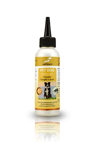Peticare Cane lozione Contro Acari e prurito - Trattamento delle infestazioni da Funghi e Acari, elimina Gli Acari e la rogna, Calma la Pelle dei Cani - 100% Biologico - petDog Protect 2101 (100 ml)