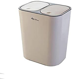 SYDDP Home Recycling Bins Square Trash Can Double Recycling Waste Bin, Press Type Twin Double Compartment Bin for Waste Separation, Office Indoor Outdoor Use Garden Rubbish Disposal Dual Dustbin