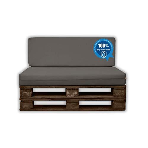 MICAMAMELLAMA Pack Asiento + Respaldo para Sofá de Palet Exterior e Interior - Funda Náutica Gris - Espuma HR Alta Densidad - Grosor 12cm