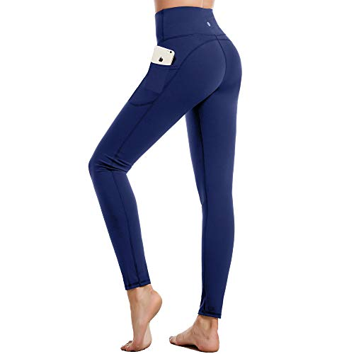 CAMBIVO Yoga Pants with Pockets for Women, High Waist Tummy Control Workout 4 Way Stretch Leggings for Running, Barbell, Weightlifting, Lunge, Crossfit (Blue, Medium)