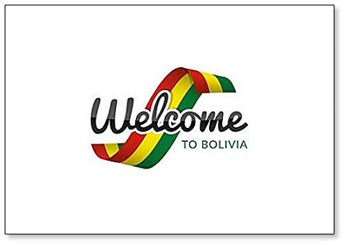 Kühlschrankmagnet, Motiv: Welcome to Bolivien mit Flagge