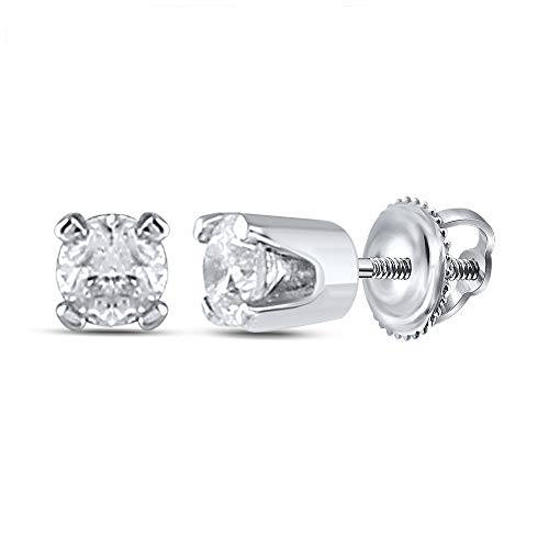 14k White Gold Girls Infant Round Diamond Solitaire Stud Earrings 1/12 Cttw