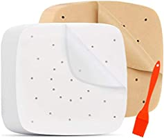 200pcs Air Fryer Parchment Paper - 7.5 inch Perforated Unbleached Air Fryer Liners/Square Parchment Liner for Air Fryer,...
