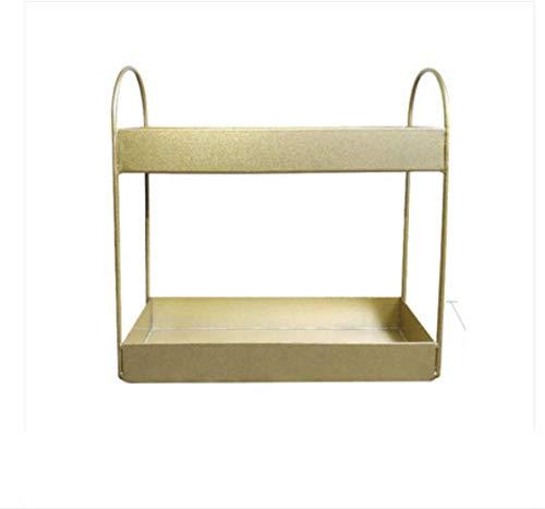 TZSMSSH Joyero Estante de cosméticos Caja de Almacenamiento de Escritorio nórdica múltiples Capas de Acabado escombros de Estante pequeño baño de Hierro Forjado/Caja de Almacenamiento de Oro