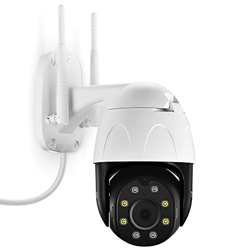 TENVIS Outdoor Security Camera with Flood Light - 1080P Home Surveillance Camera with Motion Sensor, WiFi Camera with Phone App, Night Vision, IP65 Waterproof, Pan/Tilt, 2Way Audio, Works with Alexa