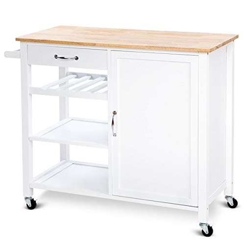 Heize best price White 4-Tier Wood Kitchen Trolley Cart Island Storage Cabinet Shelf Drawer W/Casters Rack Mobile Cart (U.S. Stock)