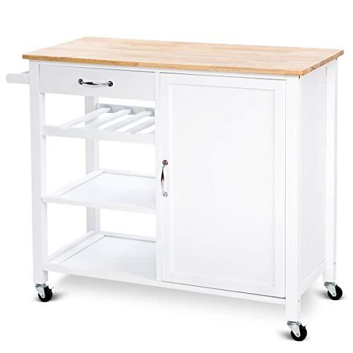 Heize best price White 4-Tier Wood Kitchen Trolley Cart Island Storage Cabinet Shelf Drawer W/Casters Rack Mobile Cart (U.S. Stock)