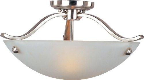 "Maxim 21261FTSN Contour Frosted Glass Bowl Semi Flush, 2-Light 120 Watts, 9""H x 18""W, Satin Nickel"