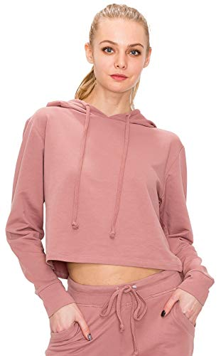 Withtrendseeker Women's Crop Hoodie Sweatshirt - Casual Cropped Hooded Long Sleeve Pullover Top Workout Sports Active FT4805 Mauve S