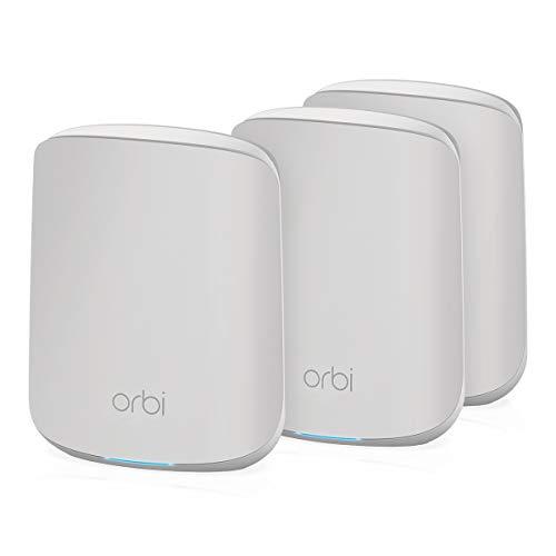 NETGEAR Orbi Mesh WiFi 6 RBK353, Sistema de doble banda compuesto por 1 router y 2 extensores satélite, Cobertura de hasta 300 m² y más de 30 dispositivos, AX1800 (hasta 1.8 Gbps)