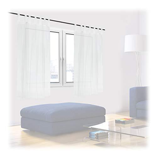 Relaxdays Gardinen 2er Set, HxB: 145x140 cm, halbtransparente Vorhänge, Wohn- & Schlafzimmer, Schlaufengardinen, weiß