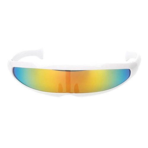 Bag-Best Gafas de Sol con Forma de cíclope Estrecho futurista Fresco Robot alienígena Creativo Lente Espejo Gafas Cosplay Disfraz Anteojos Accesorios para Fotos Gafas Juguetes (Color Blanco)