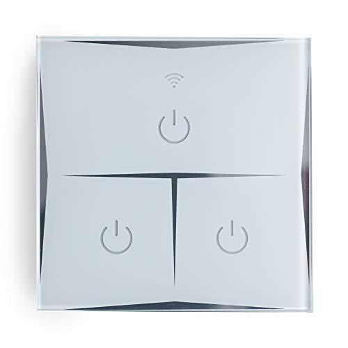 Greenice   Interruptor Inteligente Táctil Cristal 3 Vía 1800W Compatible Google Home/Alexa [HIT-KS-601-3]