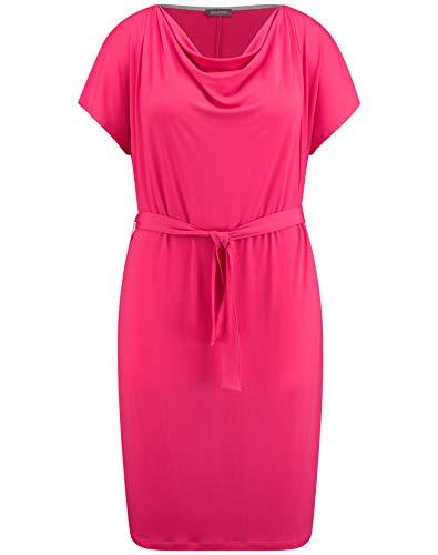 Samoon Damen Slinky-Kleid Mit Wasserfallausschnitt Figurumspielend Bright Rose 50