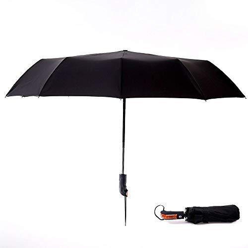 YuYzHanG Paraguas Plegable Plegable de Peso Ligero con el Paraguas de Apertura automática o Cerrar for Hombres Mujeres Mini Lluvia Paraguas (Color : Vertical Wood Handle)