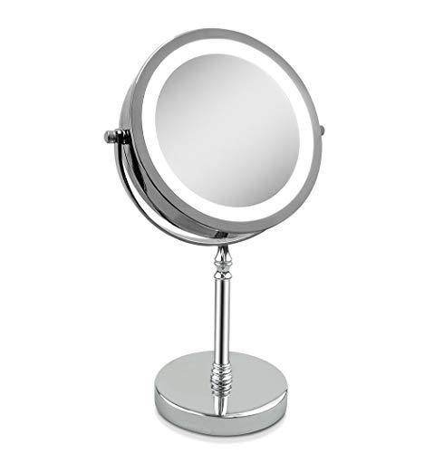 eLim VergrößerungsSpiegel, Tabletop Spiegel 10x 7-inch LED Makeup Spiegel- Doppelseitig, Beleuchtet 1x oder 10x Vergrößerung