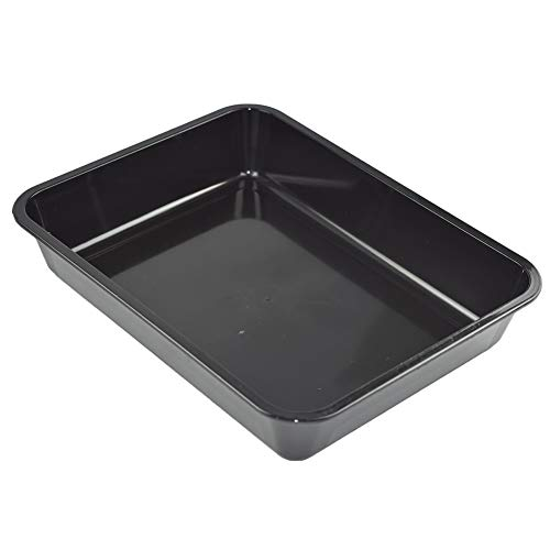 OMEM Reptile Food Bowl Large Water Dish, Wood Plate, Bowl Turtles (M=31.523.84.7, Black)