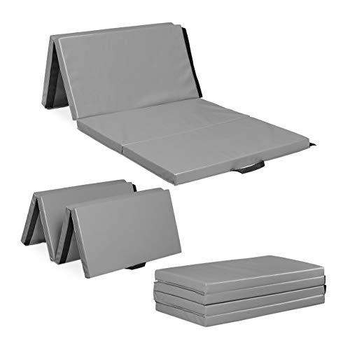 Relaxdays - Tappetino da ginnastica pieghevole, 180 x 80 cm, spessore 5 cm, espandibile, per casa, maniglie, impermeabile, grigio
