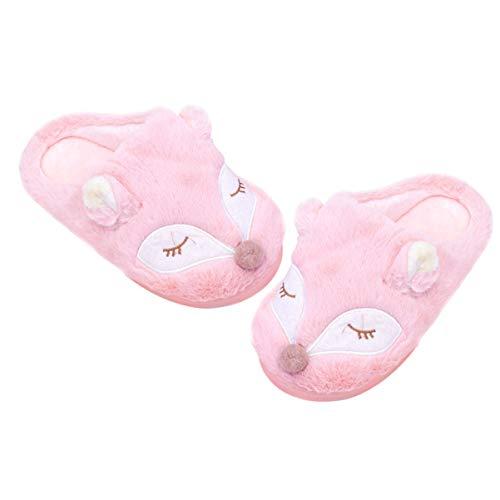 Holibanna 1 Paire de Pantoufles Animaux Renard Automne Hiver Pantoufles Chaussures moelleuses Mocassins Doux Chaussures de Maison pour Dame Adultes Femme