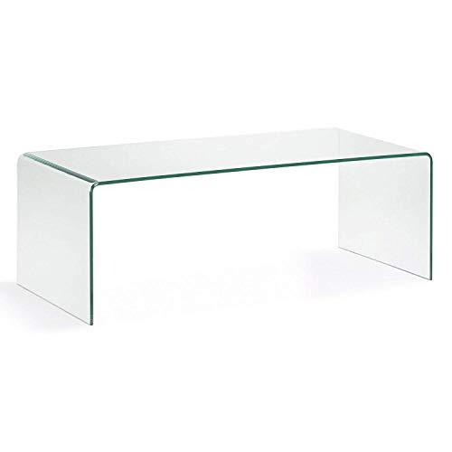 HOGAR24 ES- Mesa de Centro Cristal Curvado de una Pieza, Medidas 110 x 55 x 35 cm