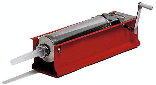 Embutidora para embutidos con Cilindro de acero inoxidable AISI 304, estructura de acero, de color rojo, Incluye variador de velocidad